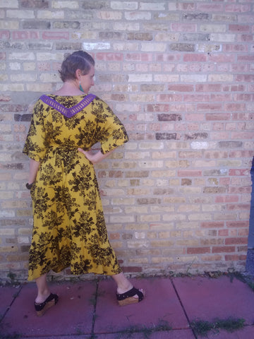 Midi/Ankle- Yellow/Black Floral