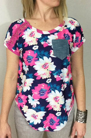 Ann Pocket Tee- Navy Floral