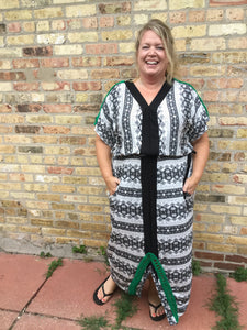 Maxi Dress- Black/White/Green