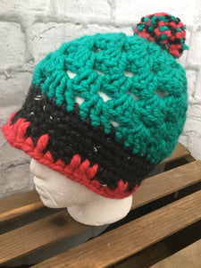 Pom Pom Hat- Green/Black/Red