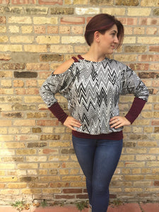 Megan Top- Black/White Zig Zag