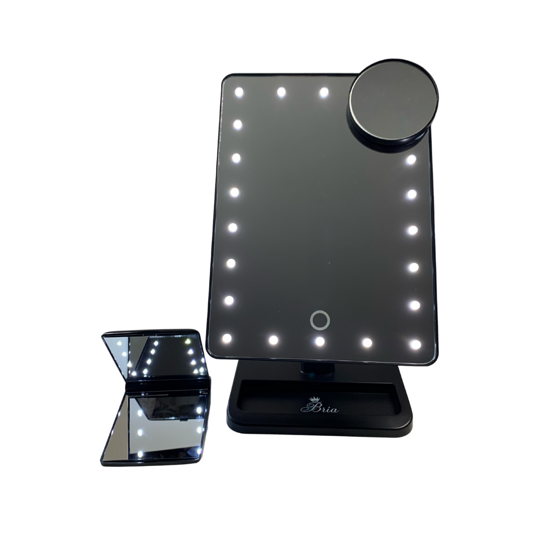 Touchup & Dimmable LED Travel Mirror Bundle