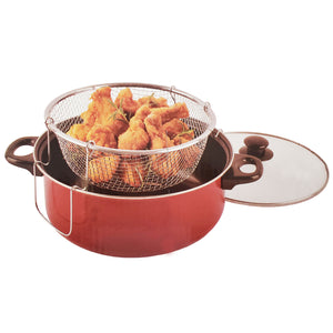 Deep Fryer 3pc Set With 4.5 Qt Nonstick Ceramic Dutch Oven