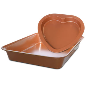 2 Piece Ceramic Coated Copper Bakeware Set with Rectangular Cake Pan and Heart Shaped Pan