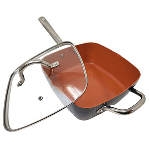 Copper Nonstick Ceramic Square  Deep Pan with Helper Handle & Glass Lid