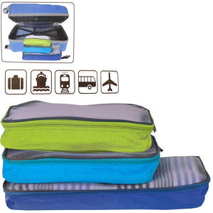 3 in 1 Packing Suitcase Luggage Koffer Organizer Set - Lightweight Durable 3 Piece Small Medium Large Travel Home Storage Accessory Checkpoint Friendly