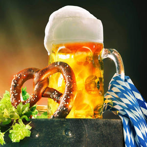 One Liter German Style  Extra Large Dimpled Glass Beer Stein Mug - Jumbo 34oz