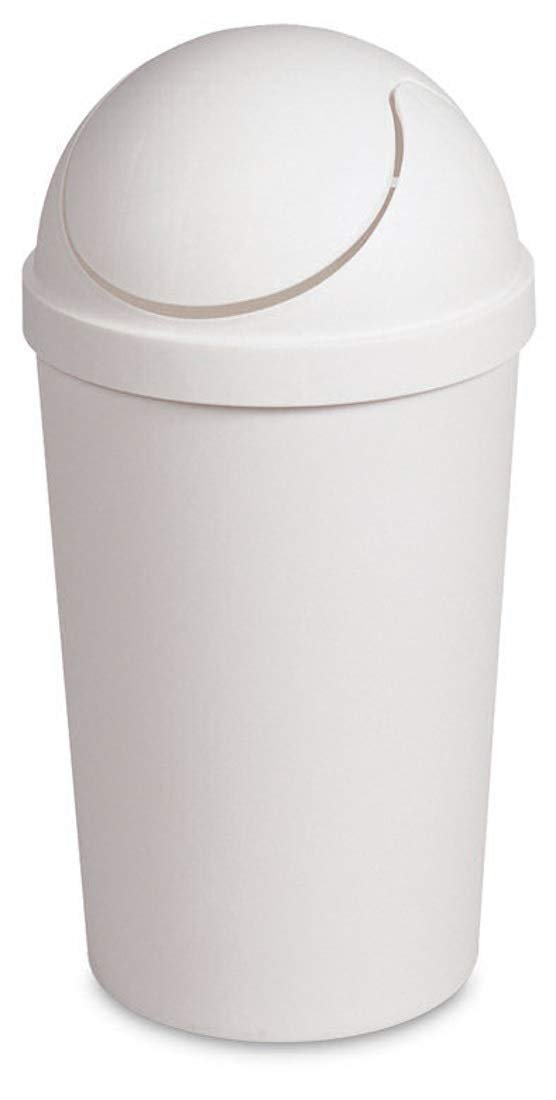 Round Swing Top Waste Basket Dust Container Recycling Bin Trash Can for Home Powder Room Kitchen Office Garbage Bathroom Indoor Outdoor Janitor Cleaning 3 Gallon Capacity 11.4L,18.5x9.5-White (1)