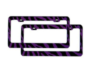 A Set of 2 Automotive License Plate Frame Metal - Zebra Purple