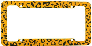 License Plate Frame - Car Truck SUV - Leopard Yellow Beige Animal Print