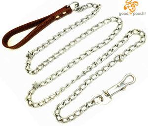 Premium 6' Chain Heavy Duty Leash BROWN Leather-like Strong Handle Lead for Large & Medium Size Dogs and Pets by GoodPooch