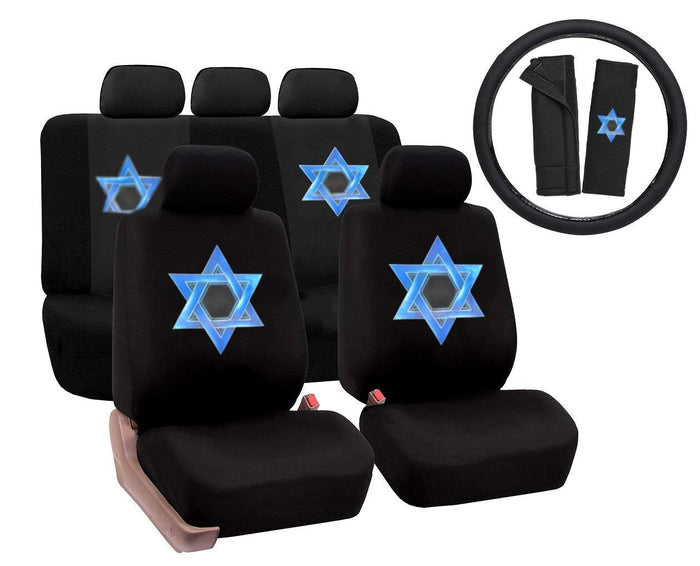 Premium 14 PC Luxury Set Universal Blue David Star Polyester Car Seat Cover Set w/Steering Wheel & Seat Belt Pads