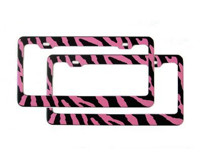 Set of 2 Metal Automotive License Plate Frame - Zebra Pink