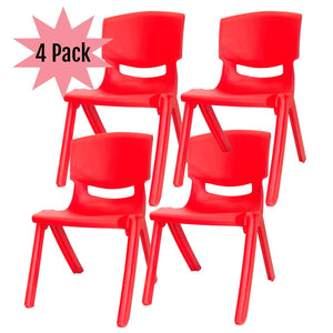 Kids Plastic Chair Small Red Stacking School Chairs, for Childrens Preschool Kid Playroom and Stackable Table, Children and Toddler Sitting Stools Heavy Duty Lifetime - 4 Pack