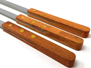 BBQ Stainless Steel Skewers Wooden Handle 23 Inch Long 1/4 Inch Wide