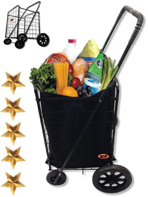 Extra Large Heavy-Duty Black Folding Utility Cart Folds Up Rolling Storage Shopping Carrier from SCF (BLACK) with BONUS LINER