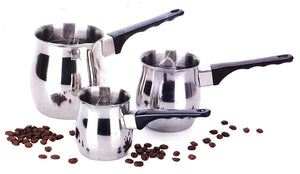 Professional Turkish Coffee 3 Piece Stovetop Warmer Pot Set - 6oz 12oz & 24oz Pots, Stainless Steel