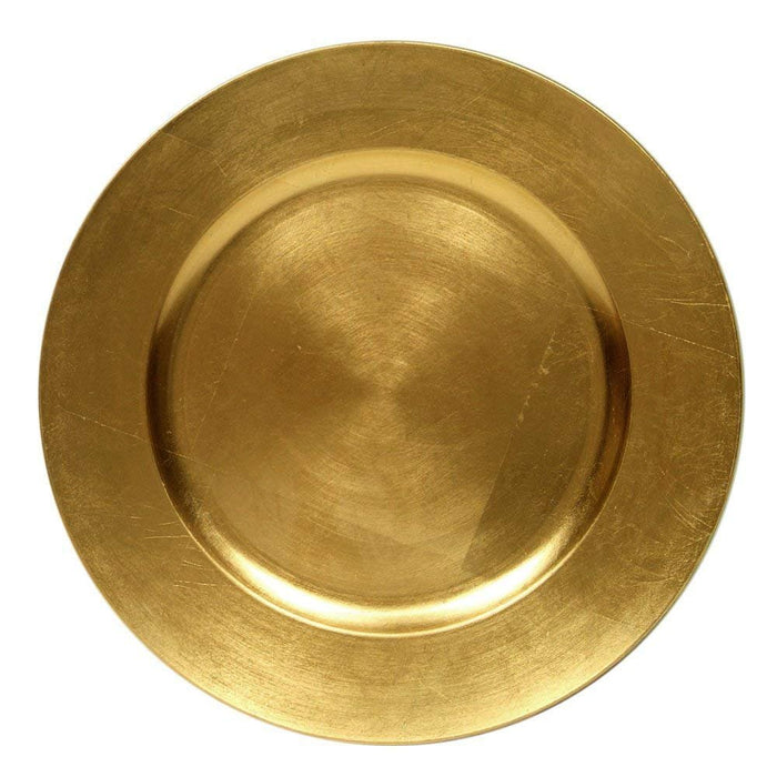 "13"" Plastic Charger Plates Wedding Christmas Anniversary Formal Service (6, Gold)"