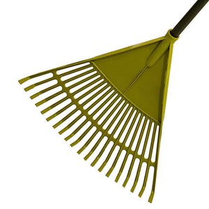 Set of 2 Garden Leaf Rake Tool Lawns a Yards Long Handle Sweep Fall Leaves No Bending Easy Grip Handle - Green