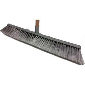 Professional Commercial Multi Surface Heavy Duty Industrial Push Broom Rough Surface Sweeper Brush With Stiff Bristles & Steel Wire Insert Warehouse & Contractors, Lawn & Garden, Indoor&Outdoor (Gray)