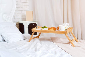 "Multipurpose Natural Bamboo Breakfast Bed Table Serving Tray Lap Desk with Handles Folding Legs & Adjustable for Breakfast Serving on Couch, Sofa,Laptop Support - 19.75"" x 12"""