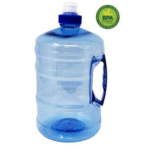 Large Water Bottle Sports Jug 75oz / 2.2L with Carrying Handle, Leak Proof Giant Container for Gym Bodybuilding Hiking Workout Office Home | ½ Half Gallon | BPA Free Food Grade Plastic