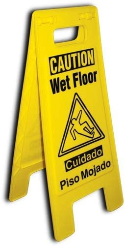 2-Sided Wet Floor Caution Sign Commercial Safety Bilingual Cuadado Piso Mojado Sign - 3 Pack,Yellow
