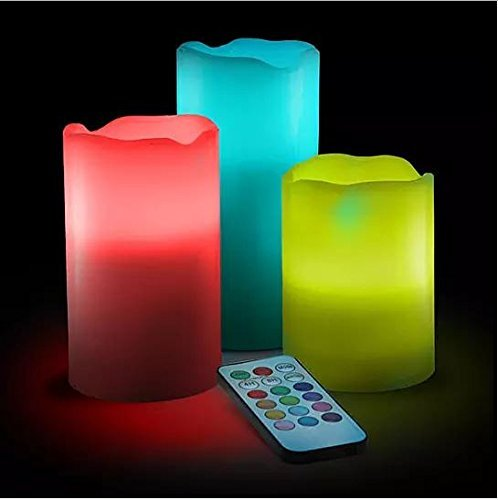 Premium Smart Flameless Ambient LED Illuminate candle Set3 Non-flammable Wax Battery Operated Electric Candles - Multi Function Remote Control with Timer - Color Changing / Light Mode Options -Scented