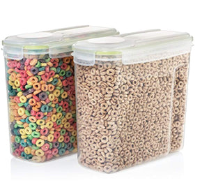 Snap Lock Clear Plastic Cereal Snack Kitchen Storage Containers