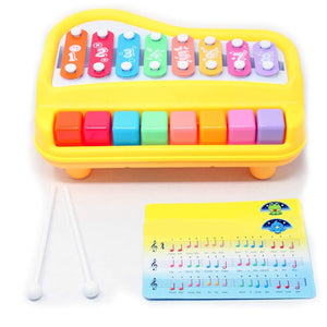 Xylophone Piano 2 in 1 Toy Kids With Music Cards Songbook Sensory Development, Keyboard,8 Multi-Colored Keys,Percussion Mantles, Musical Instrument for Babies,Toddlers,Preschool - Clear & Crisp Tones