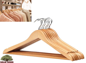 LavoHome Natural Wood Coat Suit Hangers with Non Slip Bar & Swivel Chrome Hook (Solid High Grade Maple 60 Pack)