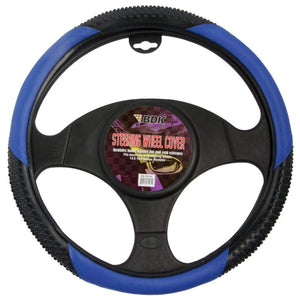 "BDK Blue 2 Tone 14.5"" - 15.5"" Rubber Nibbed PU Leather Steering Wheel Cover"