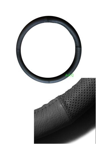 Geniune Leather Steering Wheel Cover - Black