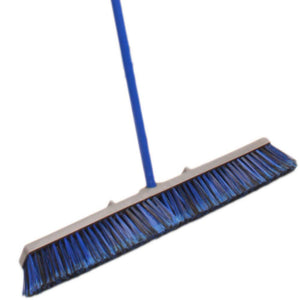 "Unique Imports 29"" inch Push Broom with 59"" Handle Professional Super Duty Industrial Push Broom Rough Surface Sweeper Blue Stiff Bristles & Steel Wire Insert-Blue"