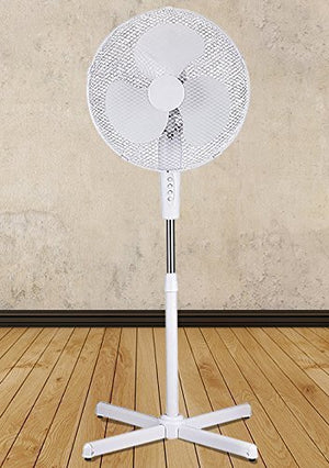 "White 16"" High Velocity Fan 3-Speed Oscillating Standing Floor Adjustable Height - New Modern Design"