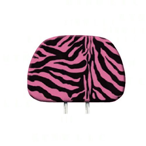 Headrest Cover: - Zebra Pink