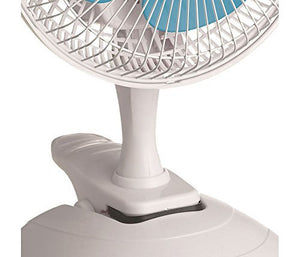 "Unique Imports #1 Powerful Stylish 15W 2-Speed 6"" Clip On Desk Fan, White Built In Handle Wide Oscillation, Quiet Operation Adjustable Speed, Home Office Table Outdoors Car"