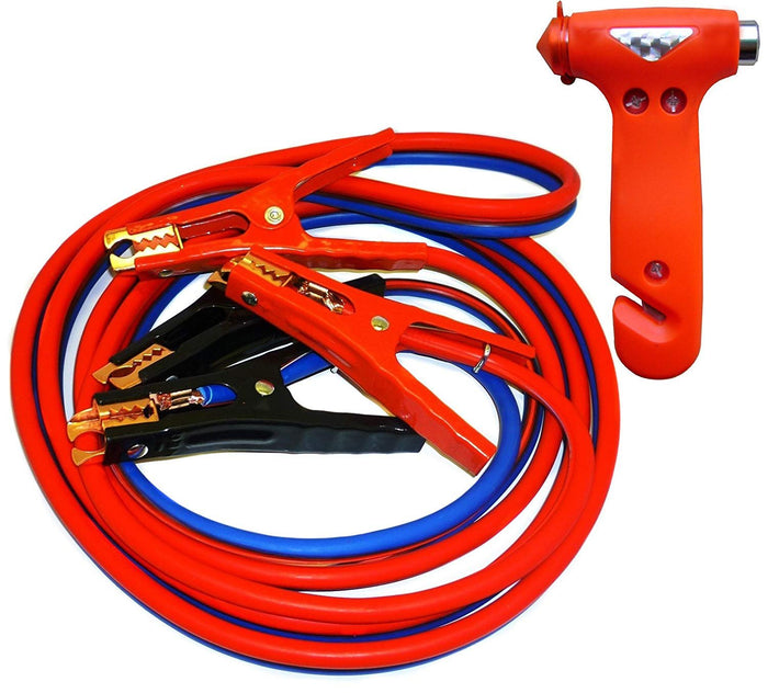 Car Emergency Combo Heavy Duty 500 amp 6 Gauge No Tangle Battery Booster Cables 12 Feet with FREE Travel Case - Extra Long 12 Ft Jumper Cables WITH Emergency Escape Hammer - Window Breaking Seatbelt Cutter