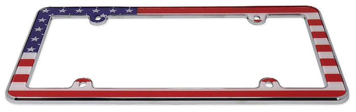 LavoHome American USA Flag Plastic License Plate Frame, Chrome Front Bracket Mount Bracket Front Bumper Veteran Gift Patriotic Military Navy Car Automobile Standard Universal Fit