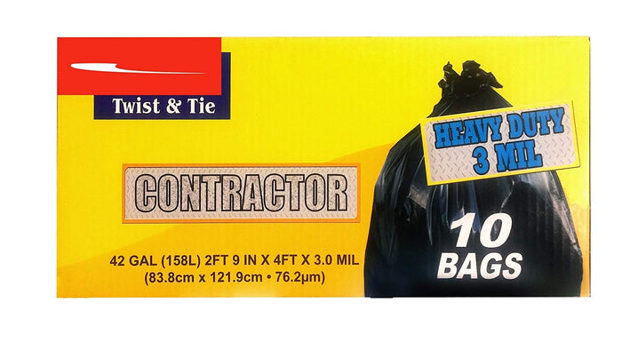 Super Tough - 42-Gallon Heavy Duty Contractor Industrial Clean Up Trash Bags Black