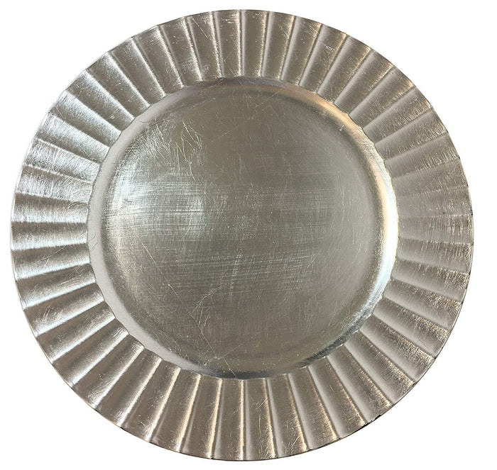 "Elegant 13"" Silver Fluted Charger Plate Serving Round Plate"