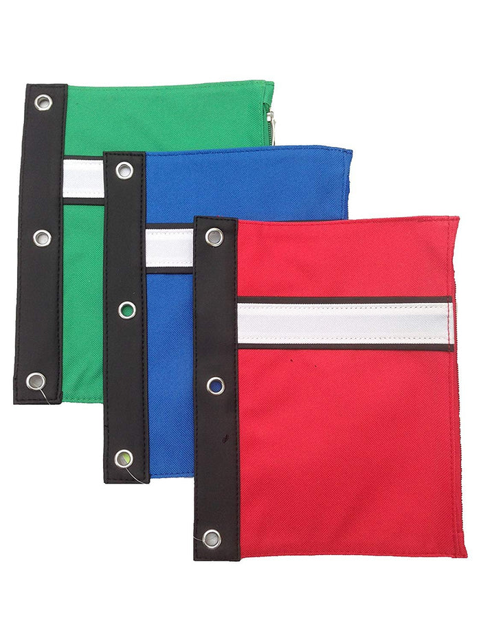 Large 3-Ring Binder Pen Pouch with Soft Vinyl Binding for Office or School Use - Assorted Colors (Blue Red Black Green) (2 Pack)
