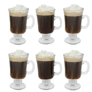 Irish Coffee Glass Coffee Mugs Footed Regal Shape 8 oz. Set of 6 Thick Wall Glass Cappuccinos, Mulled Ciders, Hot Chocolates, Ice cream and More!