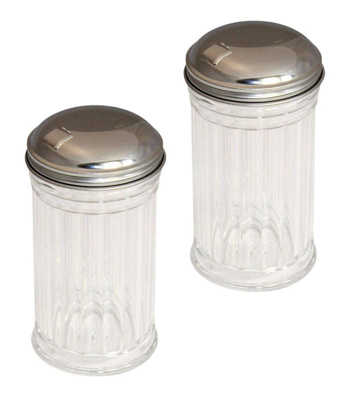 Set of 2 Glass Sugar Shakers Dispensers with Stainless Steel Side Flip Pouring Cap