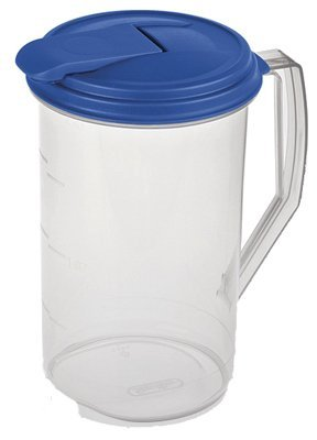 Sterilite 2 Quart Round Clear Plastic Hinged Pitcher, 6-Pack | 04864106