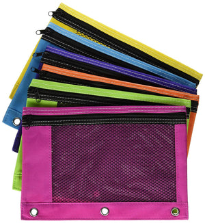 Zippered Mesh Pencil Pouch for 3pc Ring School Binders Bright Assorted Neon Colors to Choose From - Lime Green, Purple, Light Blue, Orange, Pink (3-Pack)