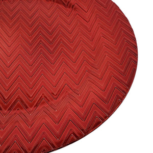 Lovely Christmas Dinnerware Formal 13-Inch Zig Zag Chevron Self Print Red Round Charger Plate Wedding Receptions Anniversary Dinners Modern Plates-Thanksgiving, Holiday,Party,Event,Restaurant (2)