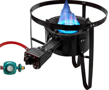 "Load image into Gallery viewer, Premium Cast Iron Propane Burner with 19"" Tall Stand Combo Cooker Outdoor Stove Portable High Pressure Gas Patio Deep Fry BBQ with Hose & Regulator"