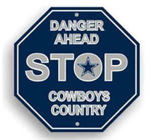 Dallas Cowboys Plastic 12 inch Stop Sign New