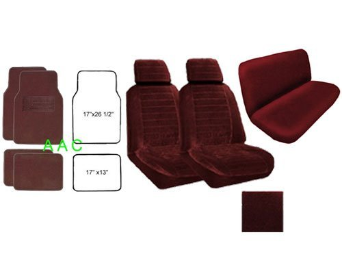 A Set of 2 Universal Fit Low Back Regal Pattern Front Bucket Seat Cover, A Set of 4 Universal Fit Plush Carpet Floor Mats for Cars and One Universal Fit Regal Rear / Bench Seat Cover - Burgundy
